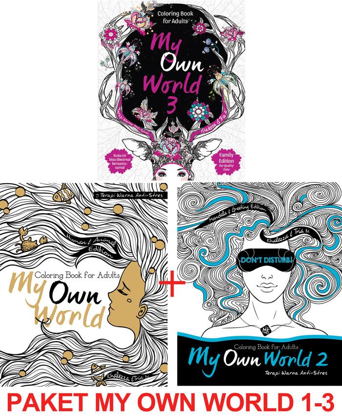 Paket My Own World Coloring Book For Adults Buku Mewarnai 1 3