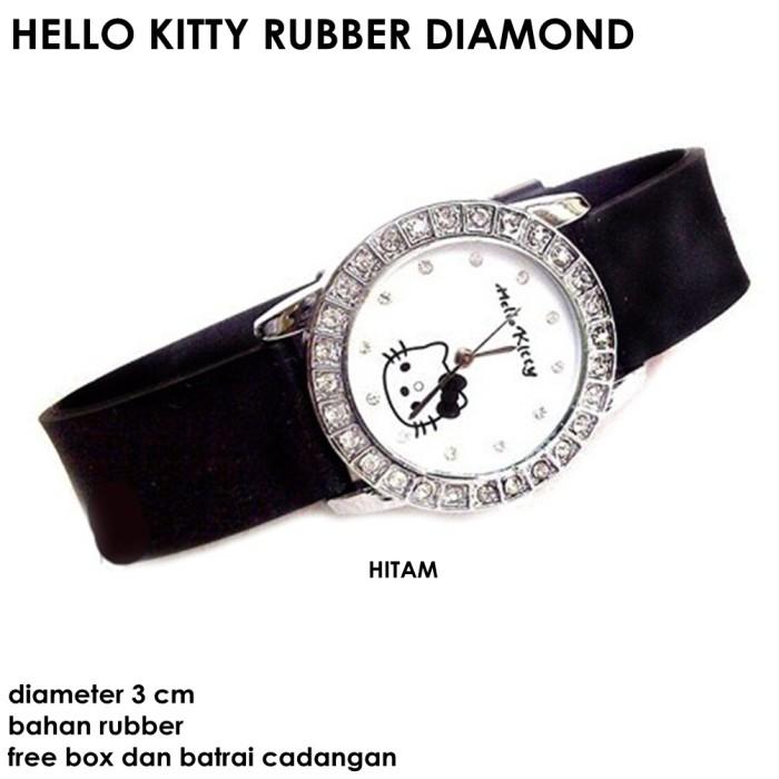 harga Jam tangan wanita hello kitty rubber diamond hitam full set Tokopedia.com