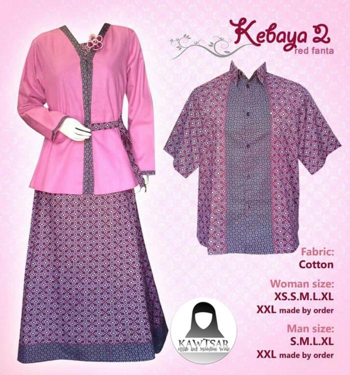 Jual Baju Kebaya Batik Sarimbit Couple Warna Pink Fanta Bc003 Kab Cirebon Kawtsar Hijab Tokopedia