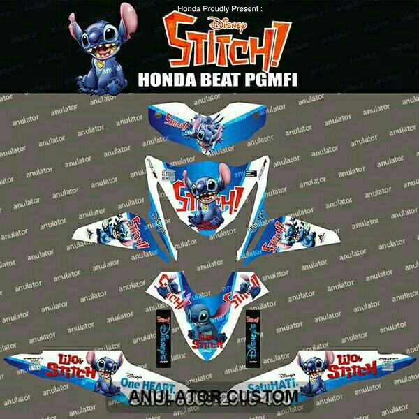 Jual Striping Honda Beat Pgmfi Stitch Biru Putih Filink Modifikasi