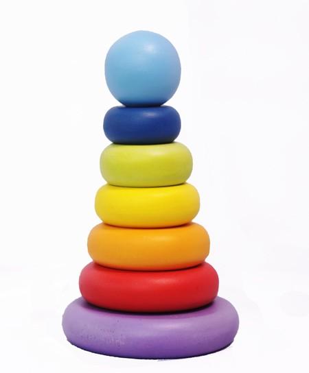 Foto Produk Menara Donat Pelangi lucu, mainan edukatif/edukasi anak kayu SNI TK dari Edukasi Toys