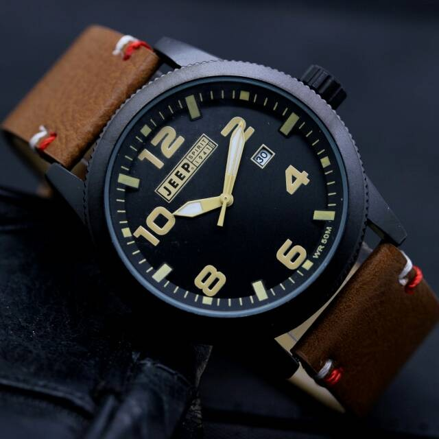 harga Jam tangan pria jeep kulit coklat tanggal aktif Tokopedia.com