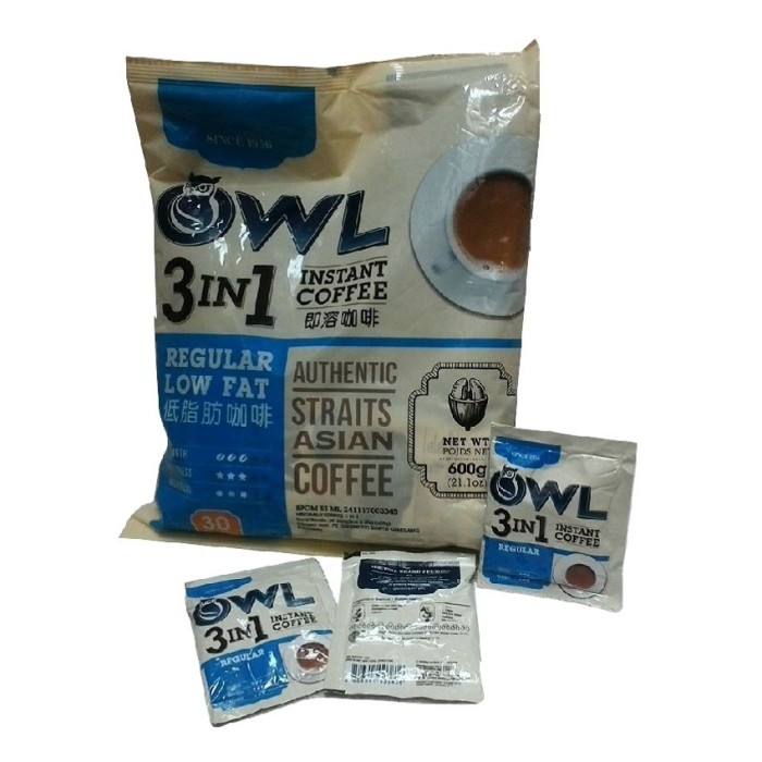 OWL LOW FAT Coffee/Kopi 3 in 1 Instan isi 30 Sachets