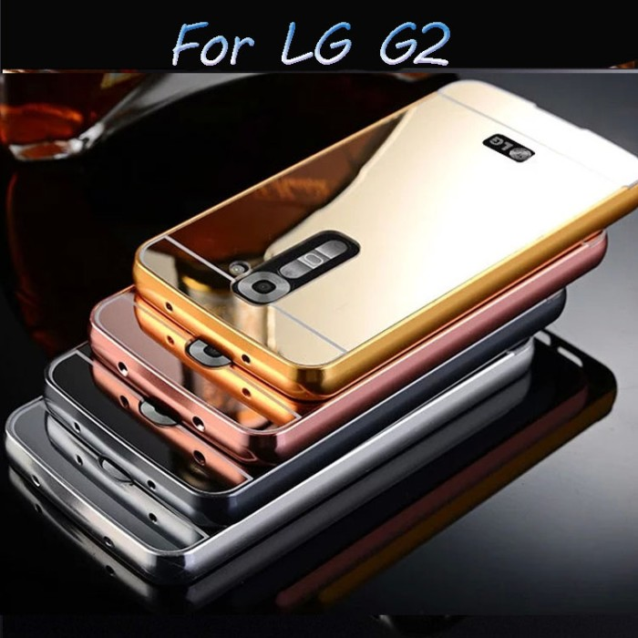 casing LG G2/G3/G4 mirror back case slide metal aluminium list bumper
