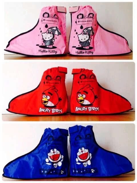 harga Jas hujan sepatu anak funcover kids angry birds-hello kitty-doraemon Tokopedia.com