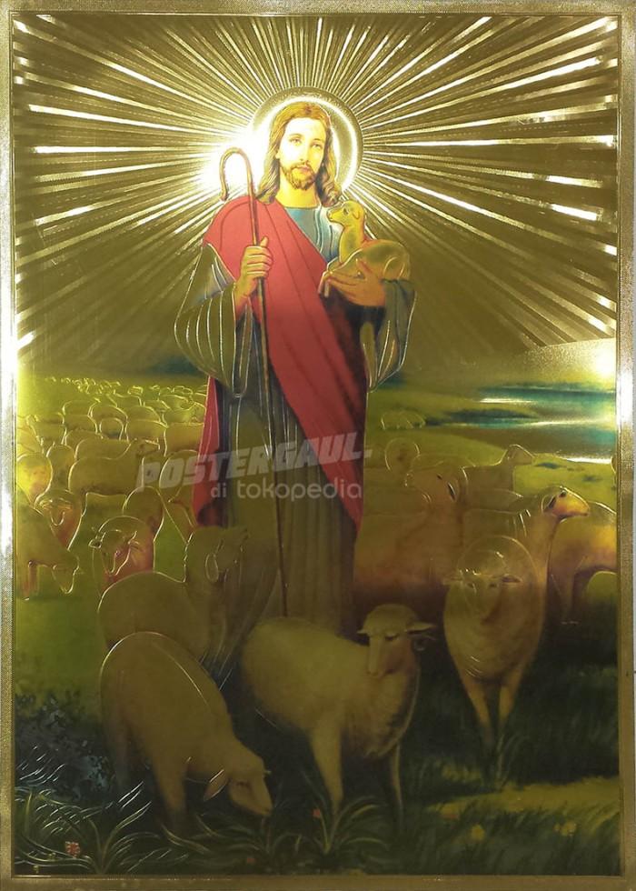Poster foil emas jumbo YESUS KRISTUS #FOJU13 - size 50 X 69 cm