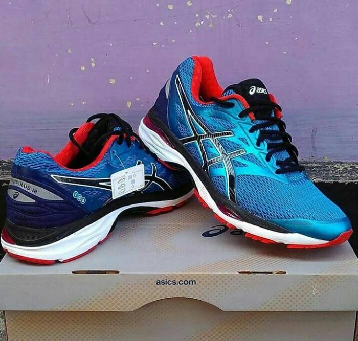 Jual  Original  Sepatu Running ASICS GEL-CUMULUS 18 Blue Red - IGITZ ... 696cc48a47