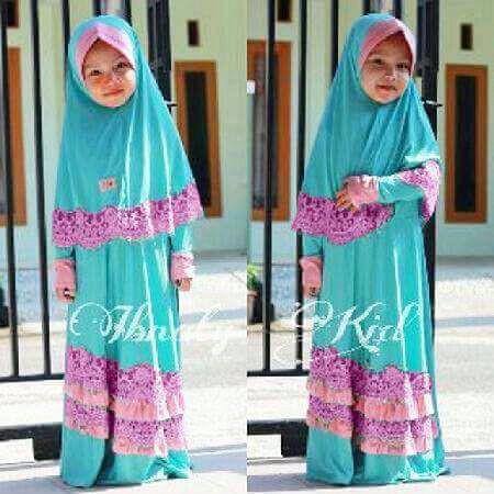 [thalia layer SL] baju muslim anak full jersey mix renda tosca HZGB