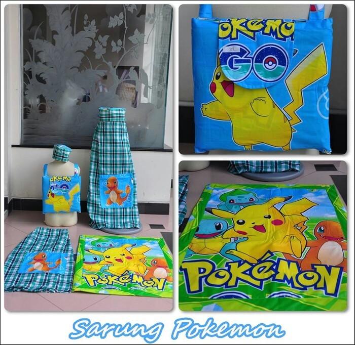 Sarung anak instant karakter set sajadah tas peci pokemon pikachu