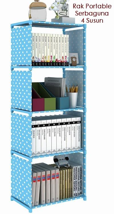 Rak Buku Kabinet Doen Kantor Rumah Dapur Portable Serbaguna 4 Susun