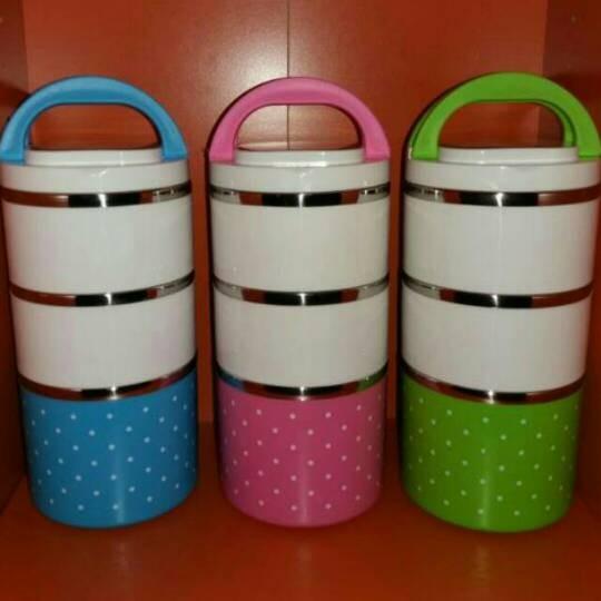 Rantang susun 3 polos polkadot stainless / lunch box
