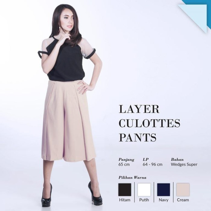 Yoorafashion Celana Kulot Wanita Putih Basic Cullotes Pants Source · CRG162092 Layer Culottes Pants Celana Kulot