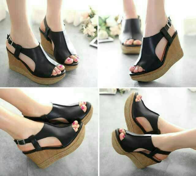 e08fc5dac6 Jual SALE @ Sepatu Sandal Wedges Wanita Pesta Kokop Selop Hitam ...