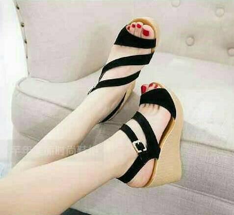 c3070ff4d1 Jual SALE @ Sandal Sepatu Wedges Pesta Finale Hitam - Kota Tangerang ...