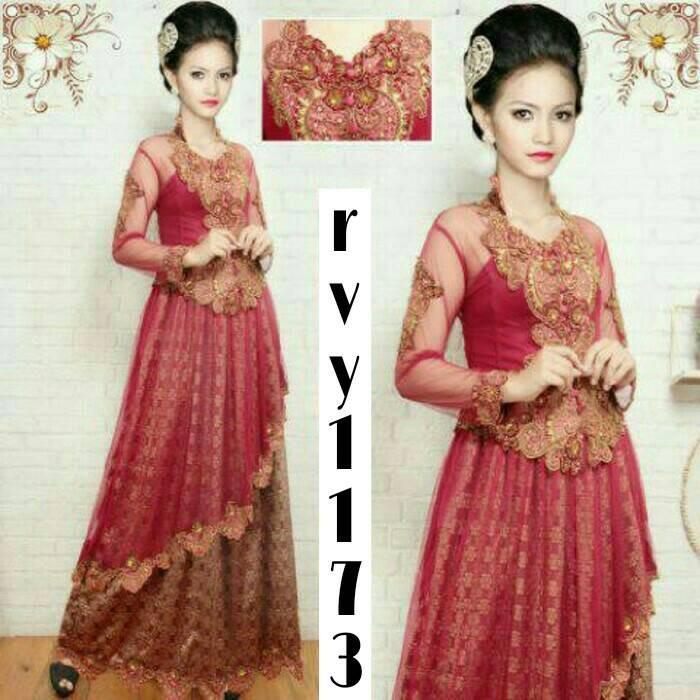 harga [rvy1173 merah maroon] gaun kebaya barbie songket Tokopedia.com