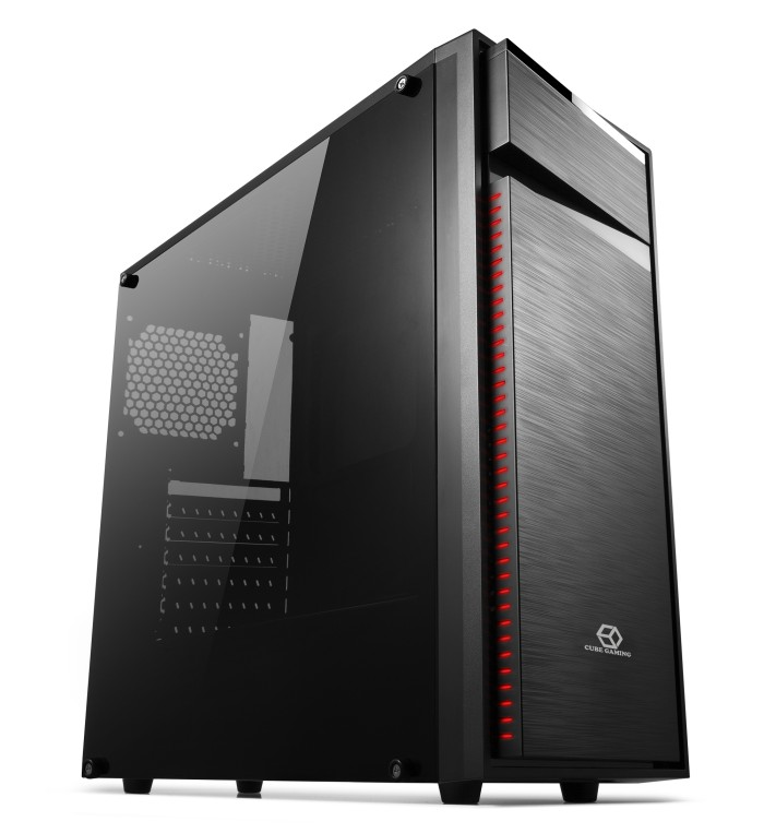 Cube gaming case weiss - black (include 1 x 120mm red led fan)