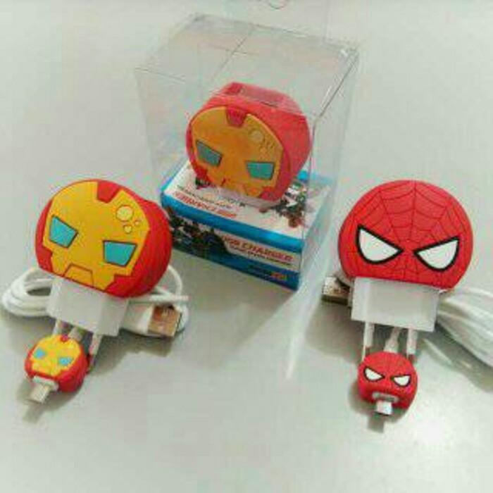 harga Chager karakter spiderman and iron man Tokopedia.com