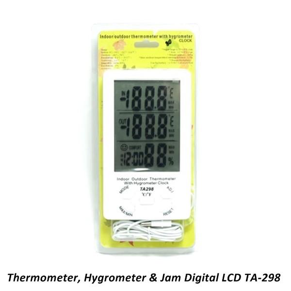 ... Termometer Digital LCD TA 298 dengan Hygrometer dan Jam