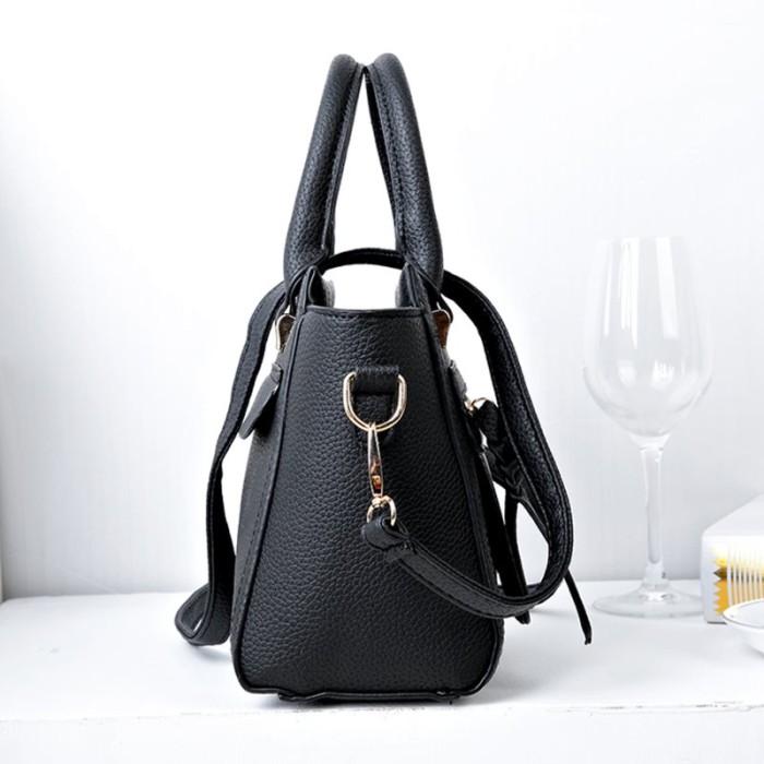 Tas Handbag Kulit Jeruk Cantik 73361 Black Import