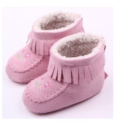 harga Sepatu bayi suede boots flower pink prewalker Tokopedia.com