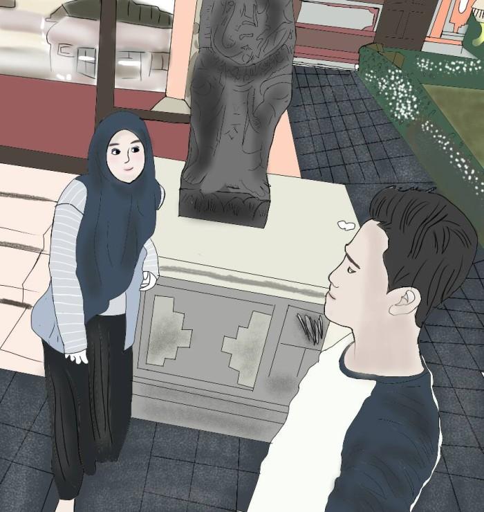 Animasi Gambar Karikatur Kaligrafi Desain