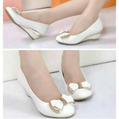 Sepatu flat shoes ceper cewek wanita kerja kantor pantopel putih korea