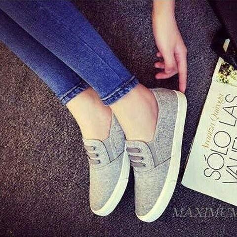 Sepatu flat shoes ceper cewek wanita santai korea modis casual abu