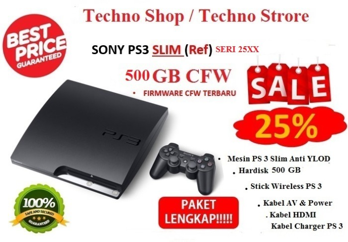 Sony PS3 slim Cfw 500Gb - PS3 500 GB + 2 stick wireless .