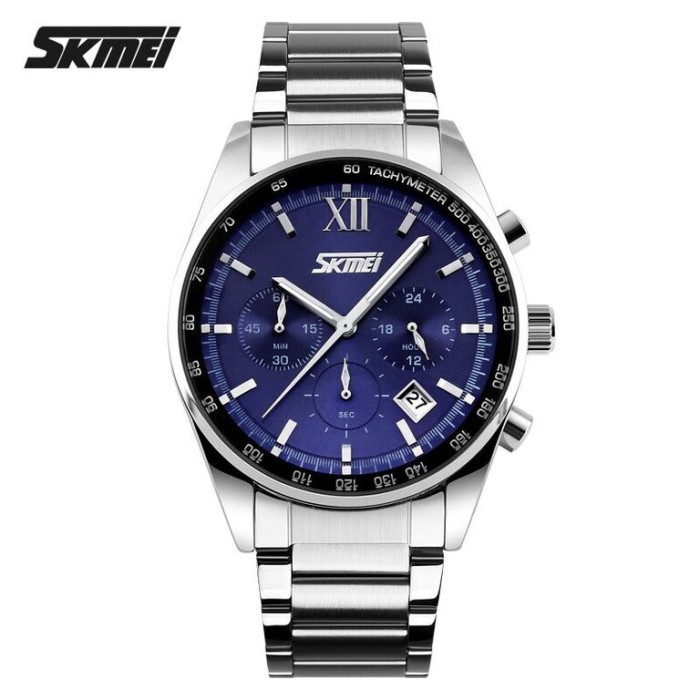 harga Skmei casual men stainless strap watch water resistant 30m 9096cs blue Tokopedia.com