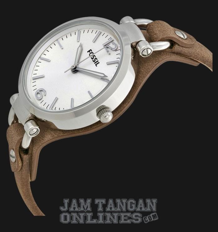 Jam Tangan Wanita Fossil ES3060 Georgia Brown Leather Strap