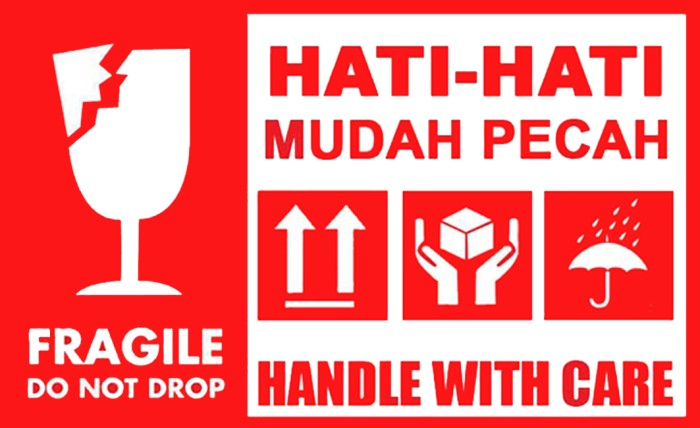 gambar jual sticker fragile stiker barang pecah belah logo