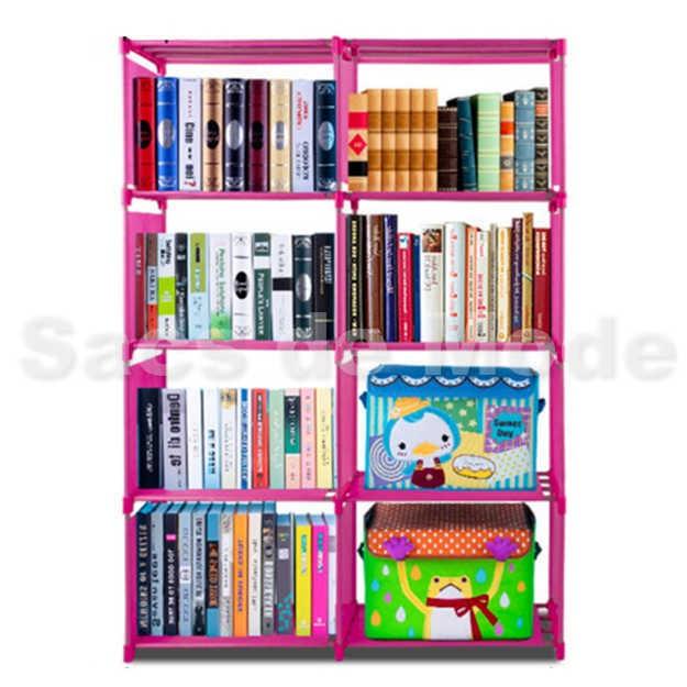 harga Rak Buku Portable / Lemari Serbaguna Multifungsi 4 Susun 2 Sisi Tokopedia.com
