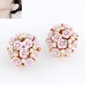 Na472 anting korea import wanita buket bunga lucu huggie earring