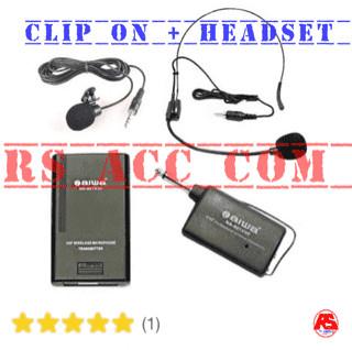 harga Mic wireless aiwa clip on + transmiter + headset microphone Tokopedia.com