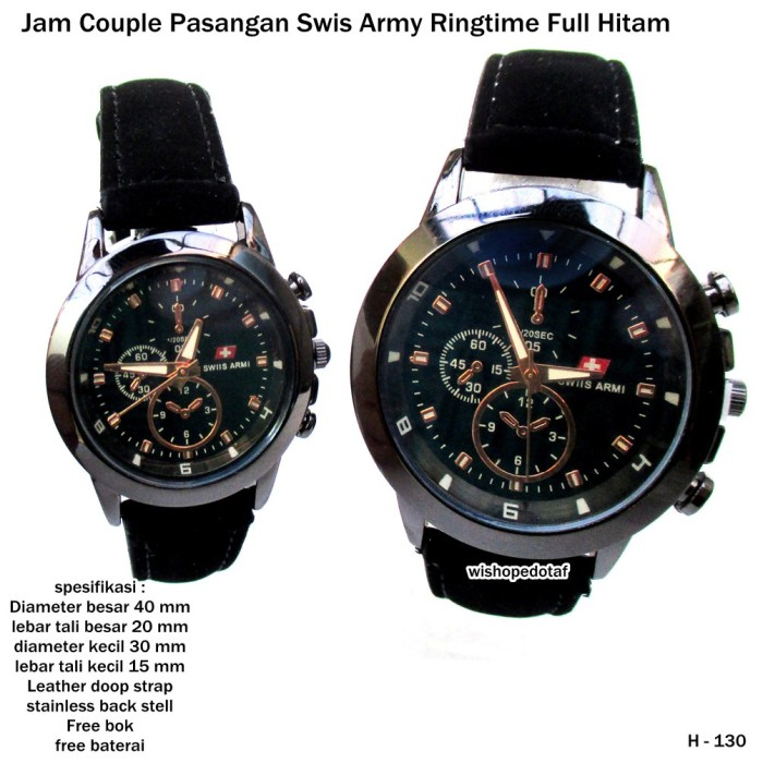 jam tangan couple pasangan swiss army ringtime full hitam full set