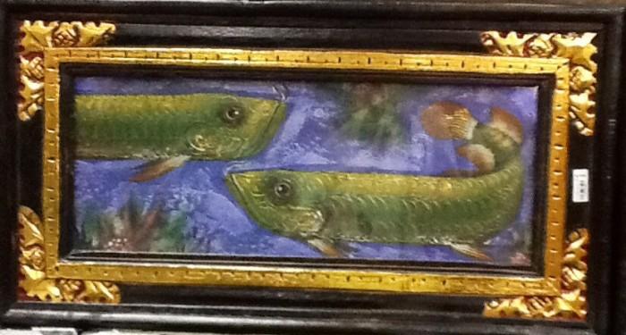 harga Lukisan ikan arwana feng shui kekayaanuang & kekuasaam dengan frame c Tokopedia.com