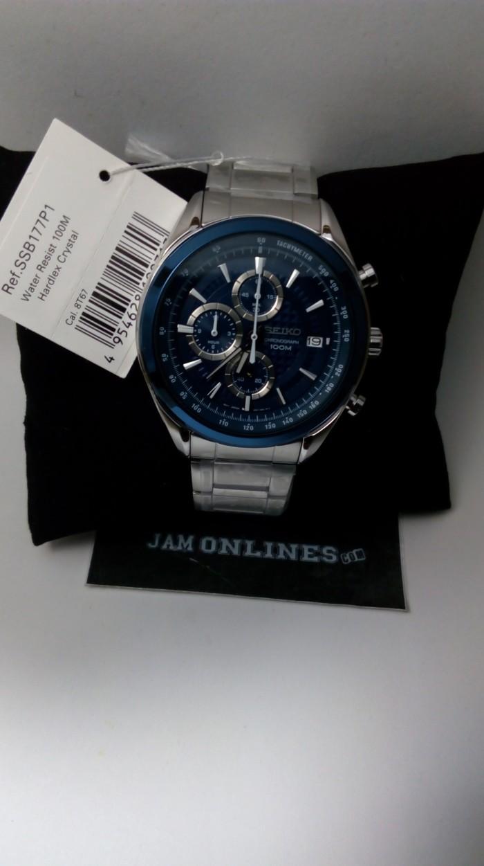 Seiko Quartz Ssb177p1 Chronograph Dark Blue Dial Jam Pria Ssb177 Sna793p1 Tangan Strap Stainless Steel Silver Original