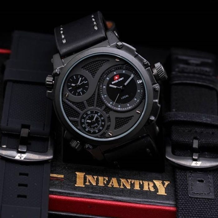 harga Swiss army infantry full black hitam tripel time tali kulit jam tangan Tokopedia.com