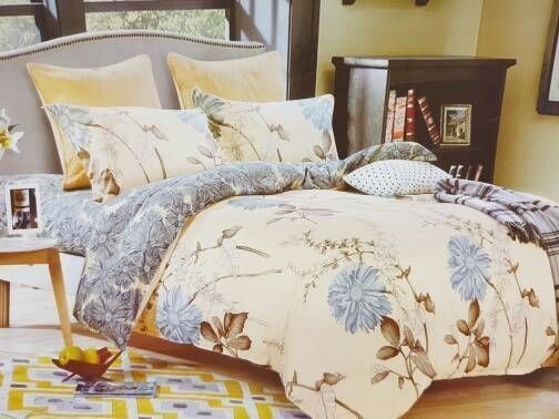 Grey blossoms, bedcover set cherry, t.30cm, katun jepang organik