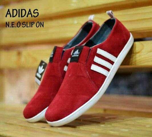 Jual SEPATU ADIDAS NEO SLIP ON RED ASLI IMPORT VIETNAM - Jka Shoes ... 757dd6ac34