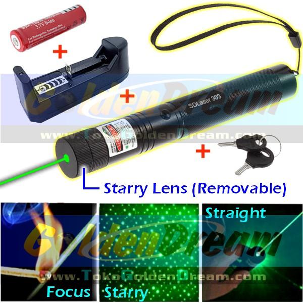 Jual High Power Green Laser Pointer 303 Sinar Hijau Bakar Burning Focus Api - Golden Dream | Tokopedia