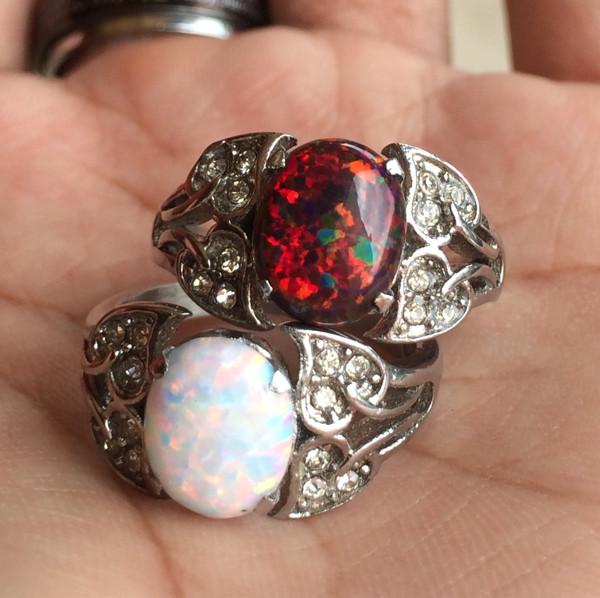harga Paket 2 cincin titanium wanita batu kalimaya  hq Tokopedia.com