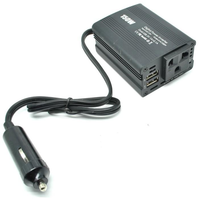 harga Power inverter mobil dengan 2 usb port 150w 220v - black Tokopedia.com
