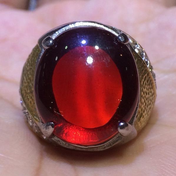harga Cincin titanium batu merah delima cutting cabochon hq Tokopedia.com