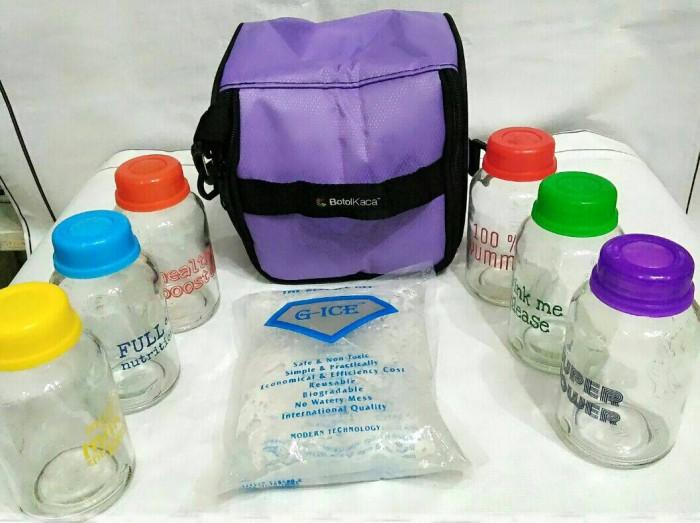 Paket f (cooler bag botol kaca+ice gel+botol kaca baby pax rainbow)