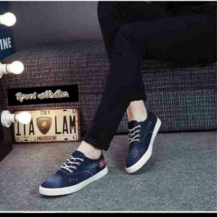 Sepatu kets denim jeans cewek wanita korea sneaker flat shoes modis