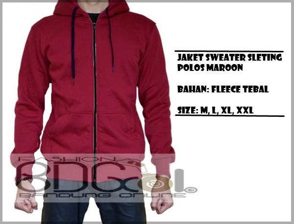 Jaket sweater hoodie polos zipper merah maroon tanpa brand