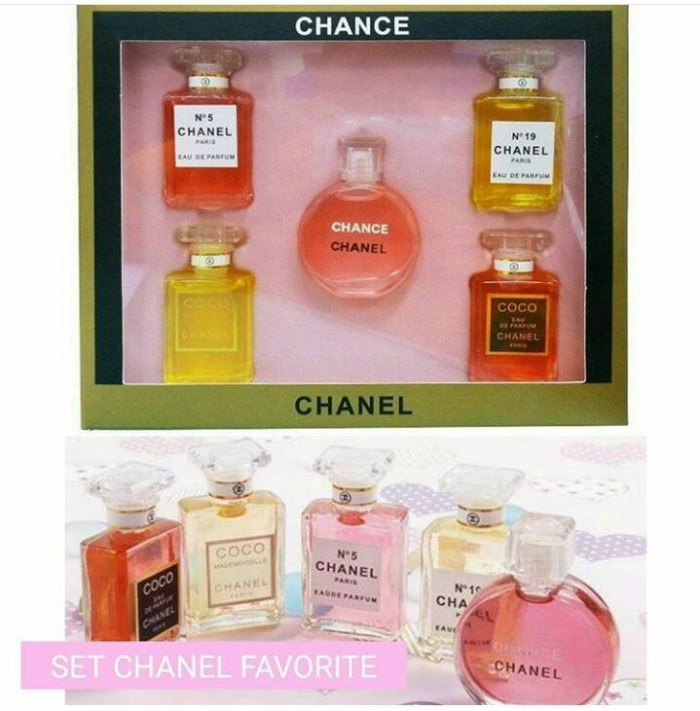 chanel 5 gift set. parfum chanel miniatur isi 5 set / box gift kado