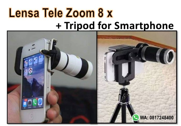 harga Lensa tele zoom 8x  tripod untuk hp smatrphone Tokopedia.com