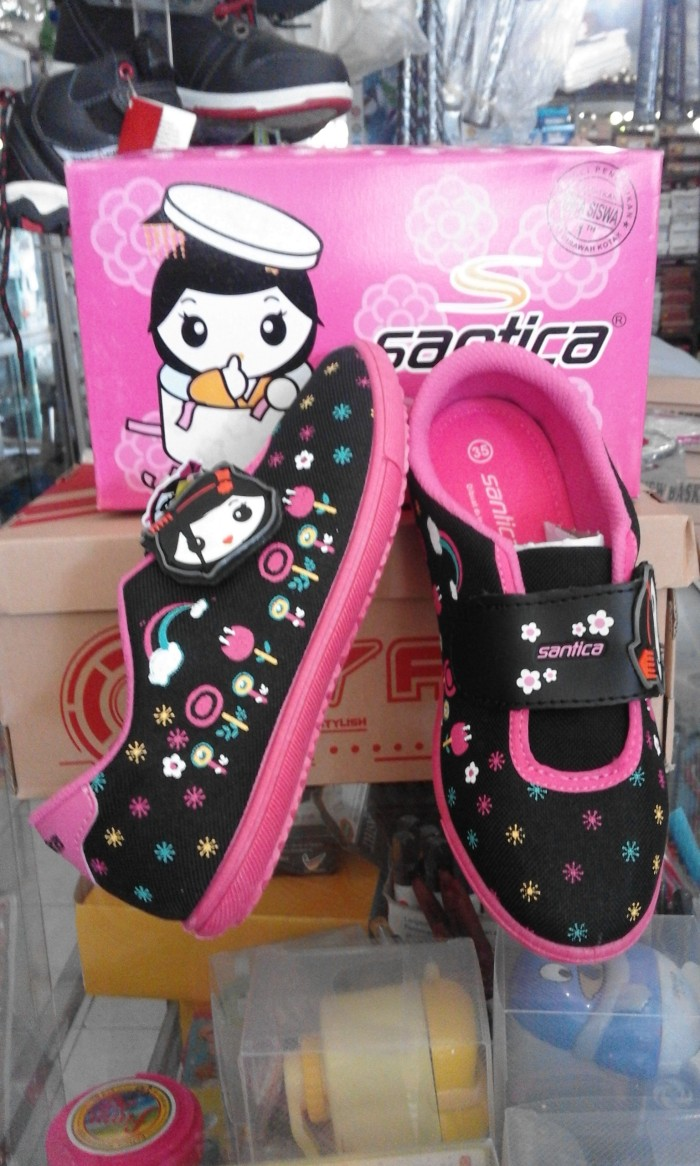Jual Sepatu Santica Cek Harga Di Anak Warna Pink Sekolah Hokkaido Hitam Fuchsia